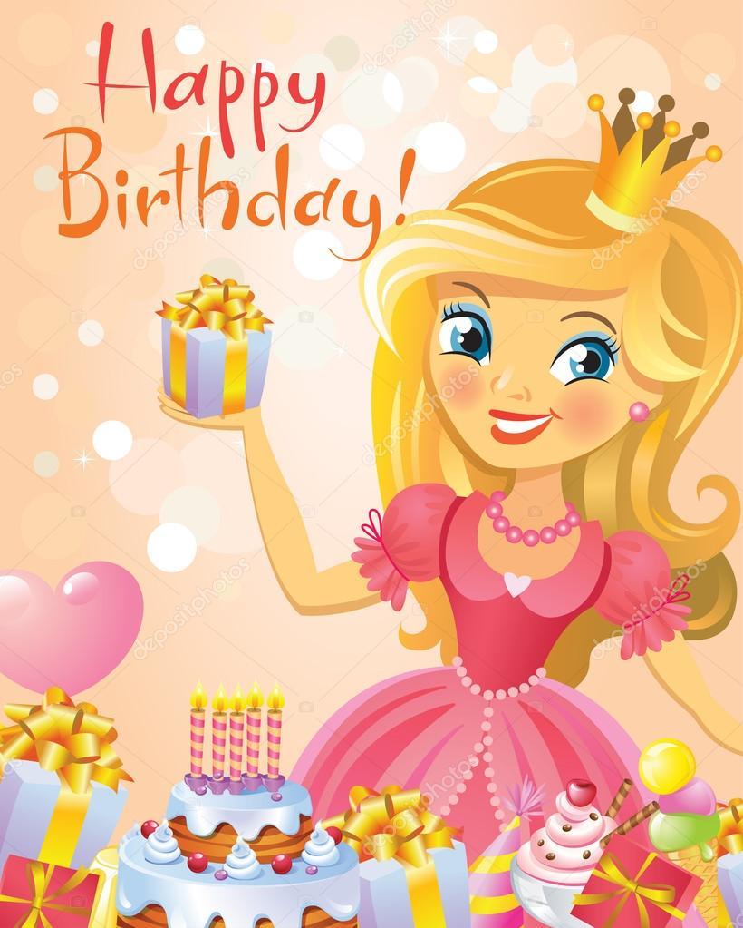 Carte joyeux anniversaire princesse