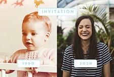 Carte invitation triple anniversaire