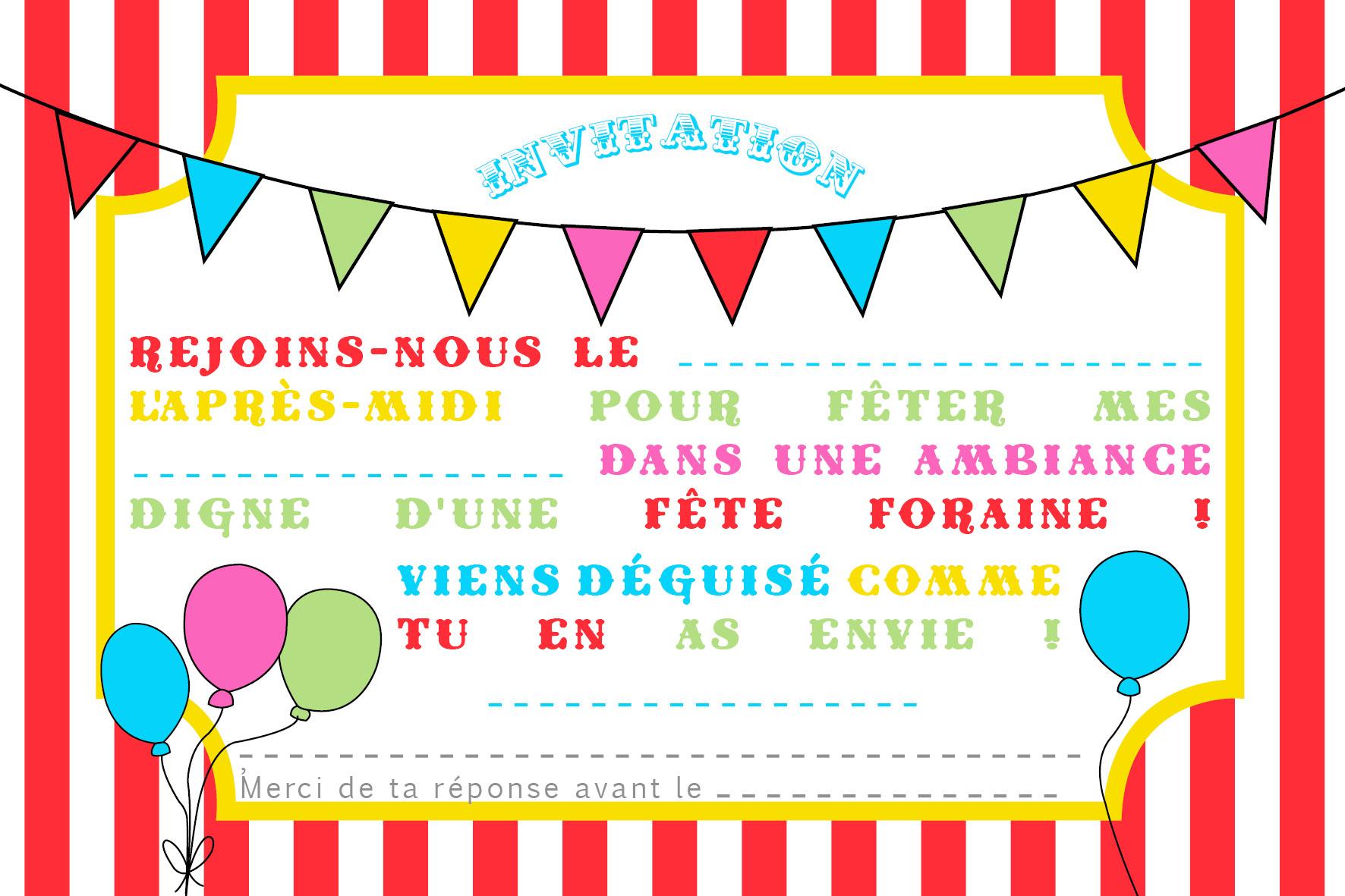 Exemple d'une carte d'invitation pour un anniversaire - Elevagequalitetouraine