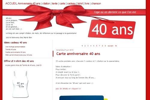 Carte anniversaire pour femme 40 ans