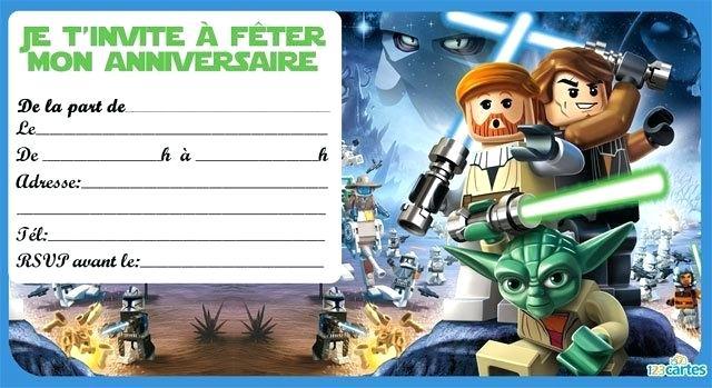 Carte invitation anniversaire lego gratuite a imprimer