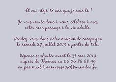 Texte d invitation anniversaire 18 ans original