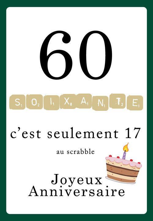 Carte anniversaire 60 ans humour