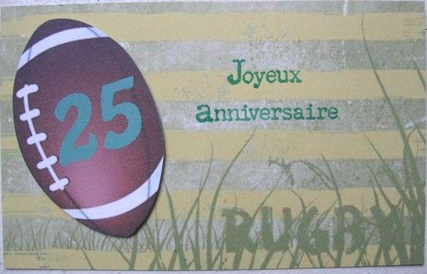 Carte anniversaire ballon de rugby