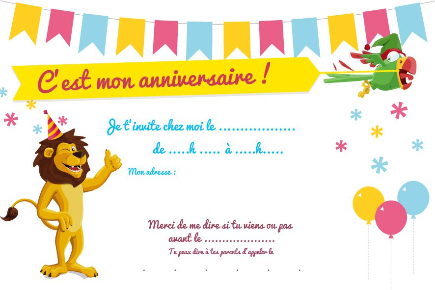 Carte invitation anniversaire enfant 4 ans