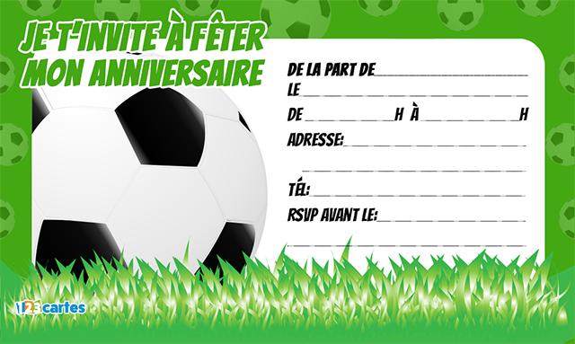 Carte anniversaire avec ballon de foot