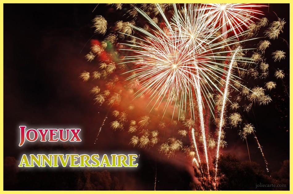 Carte anniversaire gratuite avec feux d'artifice