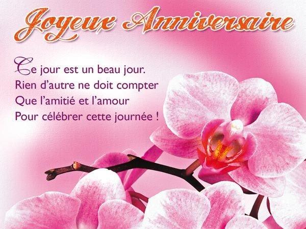 Carte anniversaire fleurs pour facebook