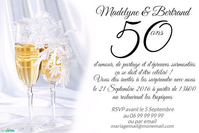 Carte d invitation anniversaire de mariage