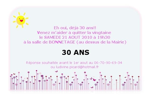 Exemple de carte d'invitation anniversaire 30 ans