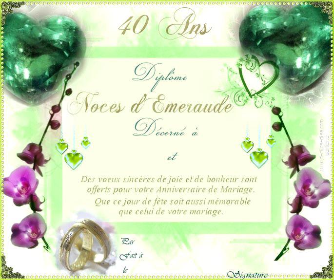 Carte anniversaire de mariage 40 ans