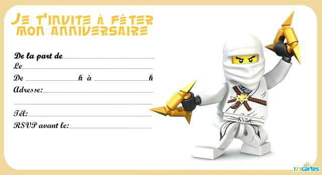 Carte d invitation anniversaire lego