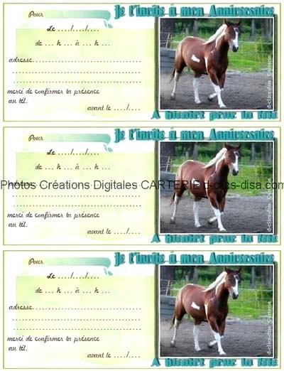 Carte d'invitation anniversaire gratuite à imprimer de chevaux