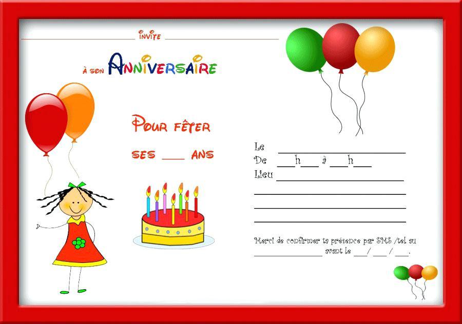 Carte invitation anniversaire 6 ans gratuite