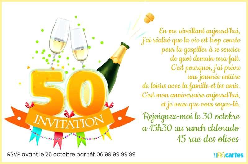 carte d invitation anniversaire 50 ans humoristique Texte pour carte d'invitation anniversaire 50 ans