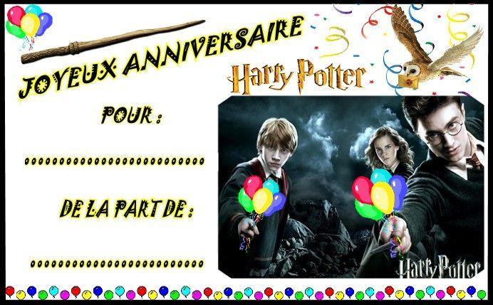 Carte d'invitation anniversaire gratuite à imprimer harry potter