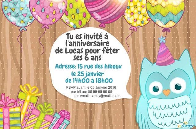 Carte d invitation anniversaire 6 ans - Elevagequalitetouraine