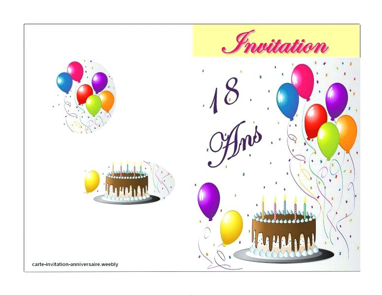 Carte invitation anniversaire 18 ans fille gratuite à imprimer
