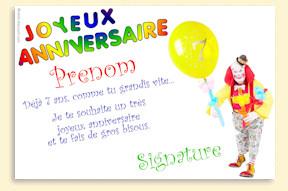 Carte anniversaire a imprimer gratuit 7 ans