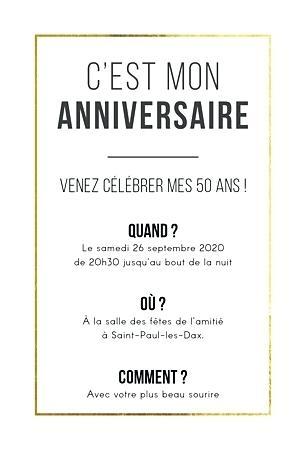 Idee message invitation anniversaire
