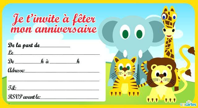 Carte invitation anniversaire as de la jungle