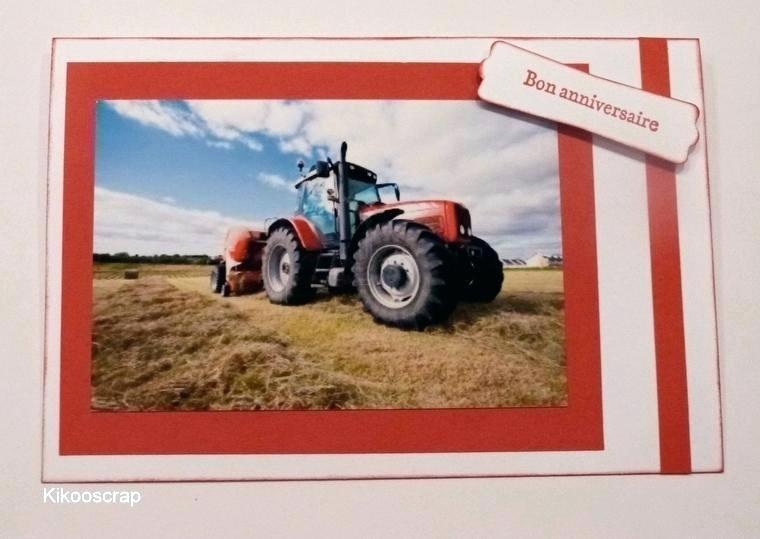 Carte invitation anniversaire tracteur