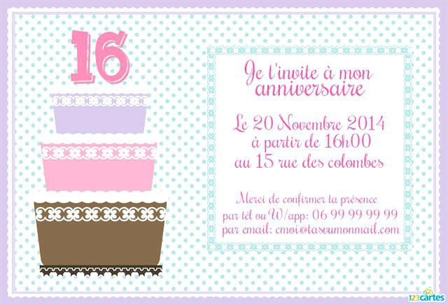 Exemple texte carte invitation anniversaire
