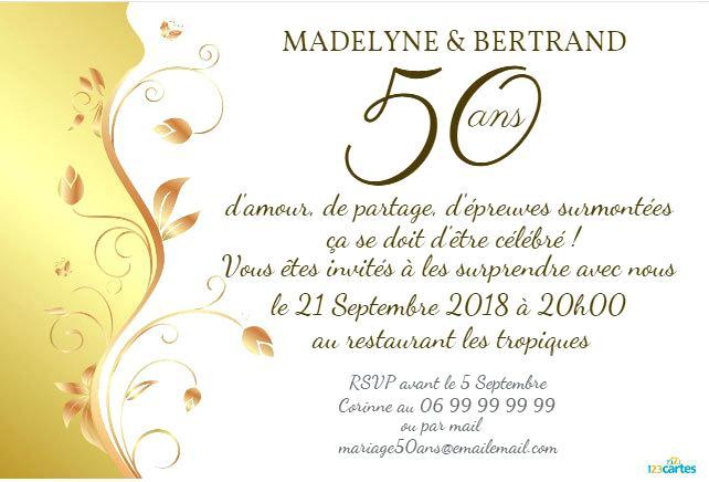 Idee texte pour invitation anniversaire 50 ans