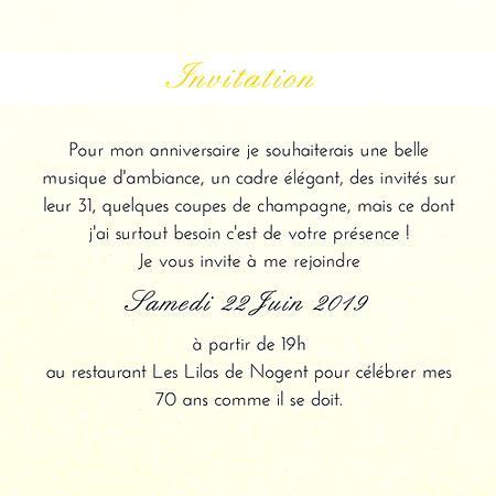 Modele de message pour invitation anniversaire