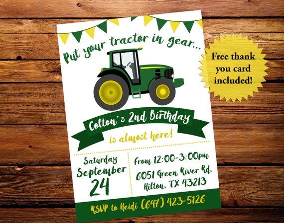 Carte invitation anniversaire garçon tracteur