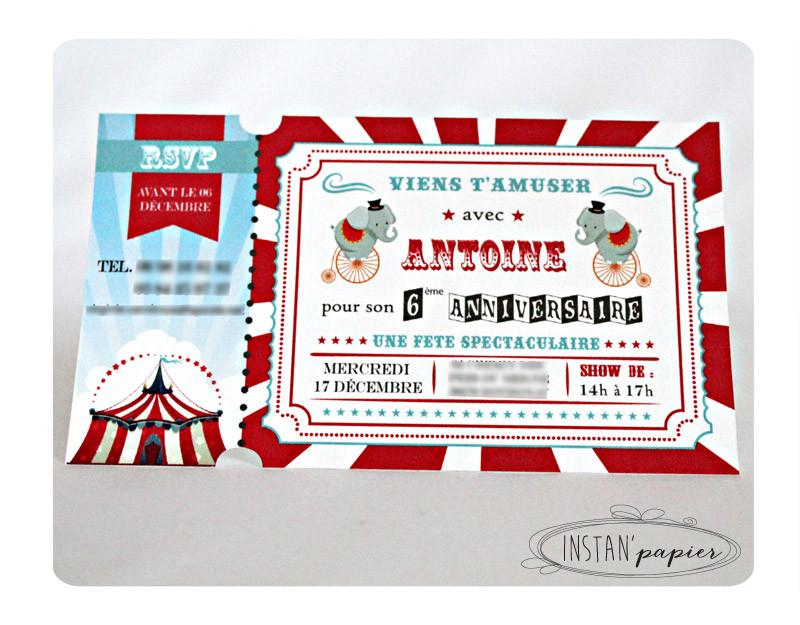 Texte invitation anniversaire cirque