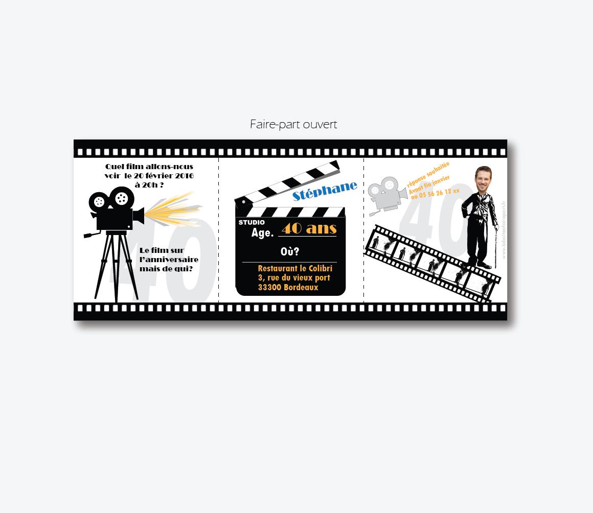 Carte invitation anniversaire film
