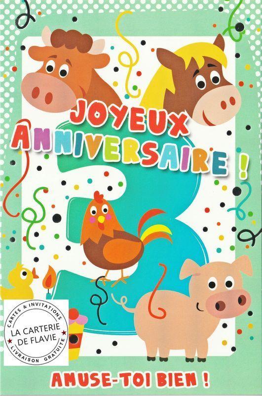 Carte d anniversaire 3 ans gratuite à imprimer