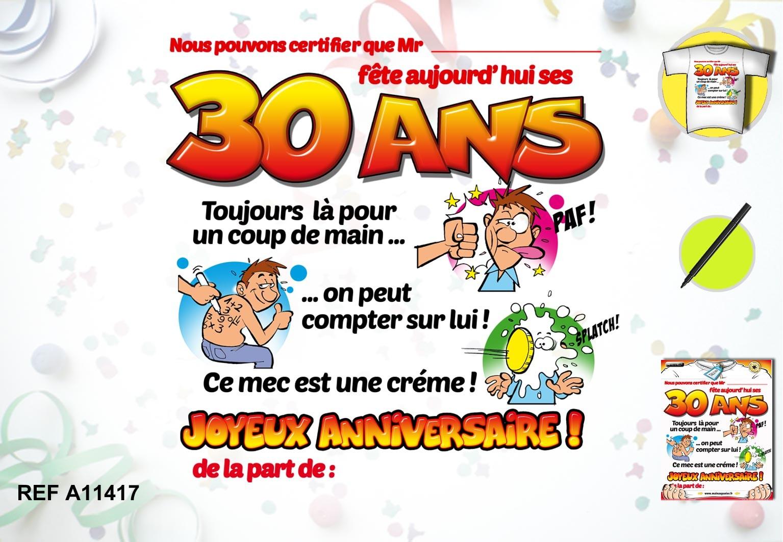 Carte à imprimer joyeux anniversaire 30 ans