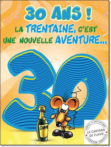 Carte joyeux anniversaire 30 ans humour