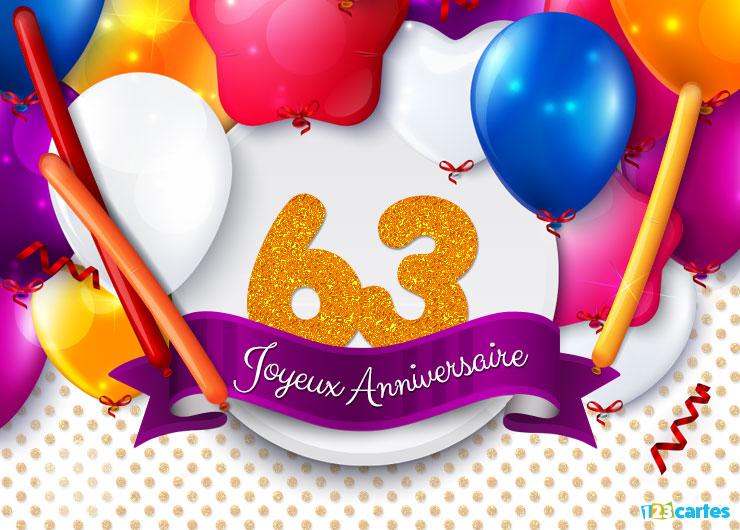 Carte anniversaire femme 63 ans