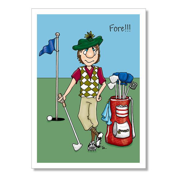 Carte anniversaire golf humour