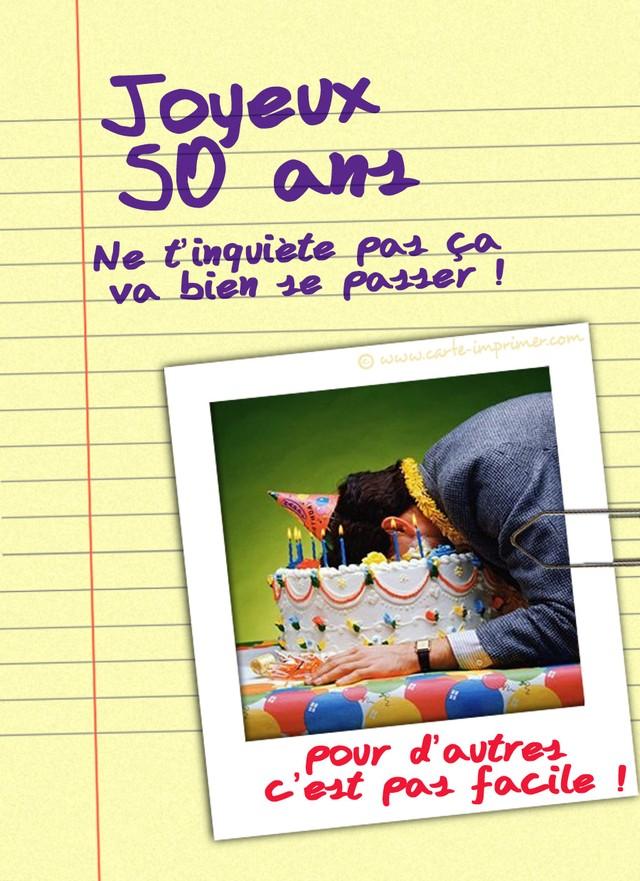 Carte anniversaire 50 ans humoristique virtuelle