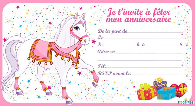 Carte d'invitation anniversaire pour fille a imprimer