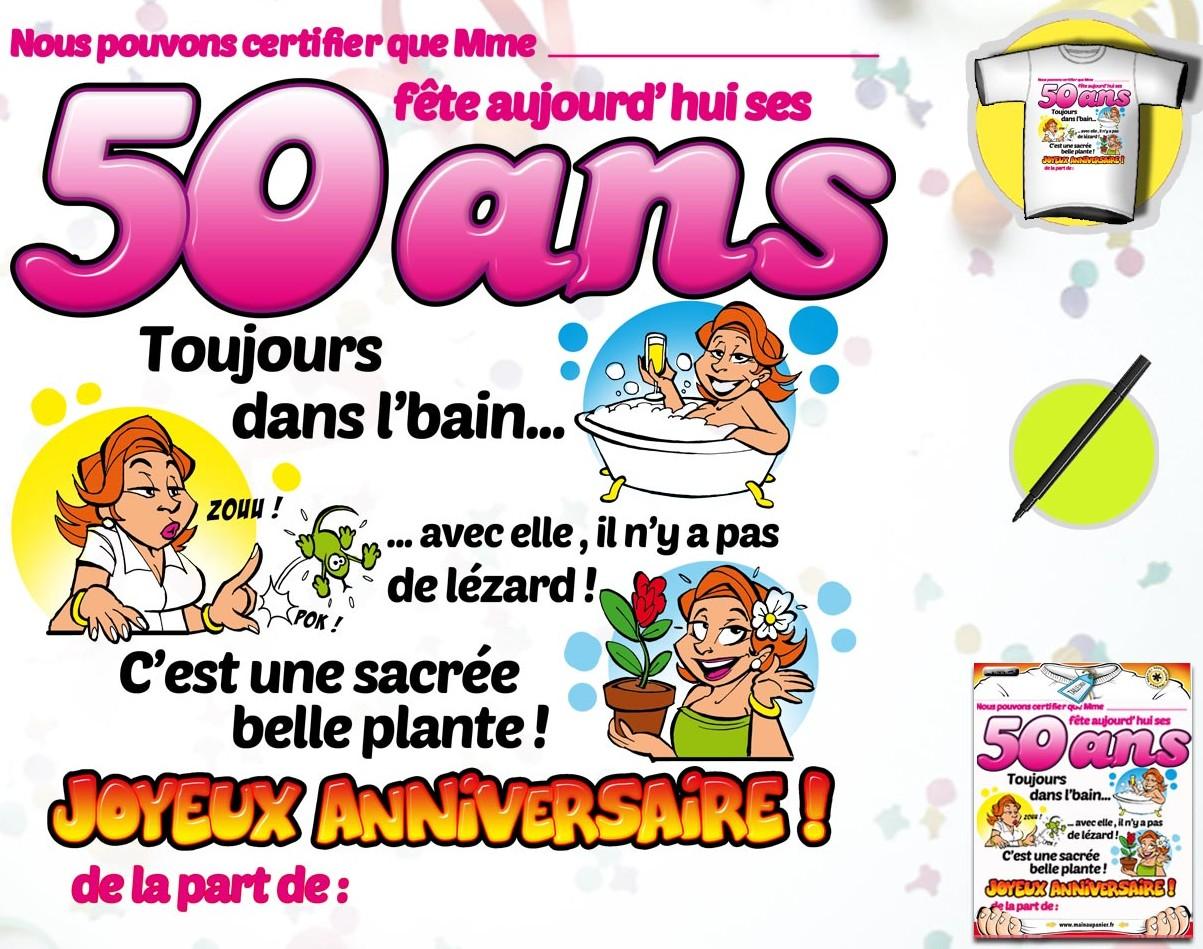 Texte anniversaire 50 ans humoristique pour homme
