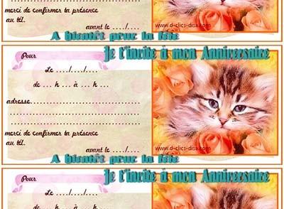 Carte d'invitation anniversaire animaux a imprimer