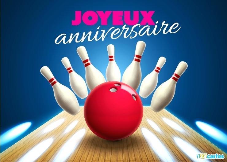 Carte anniversaire bowling