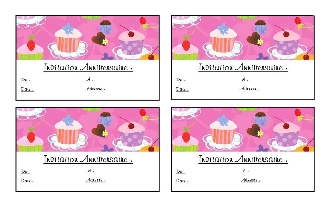 Carte invitation anniversaire 6 ans fille à imprimer