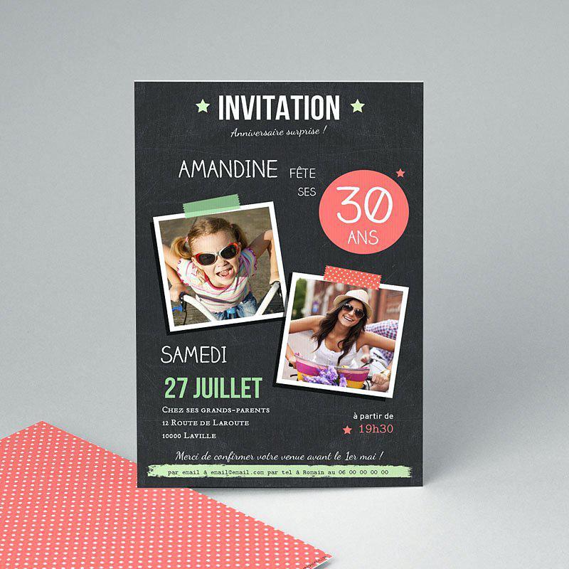 Carte d'invitation pour anniversaire 30 ans