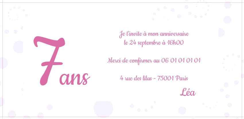 Idée de carte d'invitation anniversaire