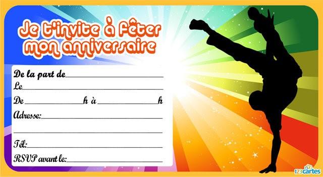 Carte d'invitation 'anniversaire ado garcon