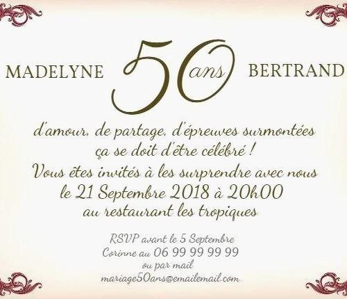 Texte Humoristique Pour Invitation Anniversaire De Mariage 50 Ans Elevagequalitetouraine