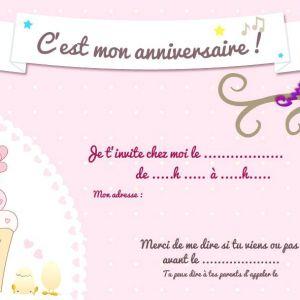 Carte invitation anniversaire gratuite à imprimer fille 11 ans