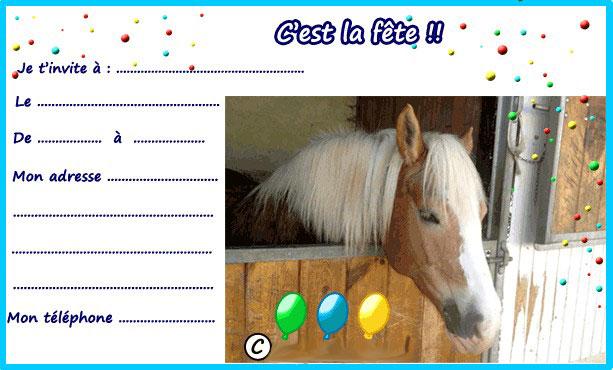 Carte d'invitation anniversaire cheval