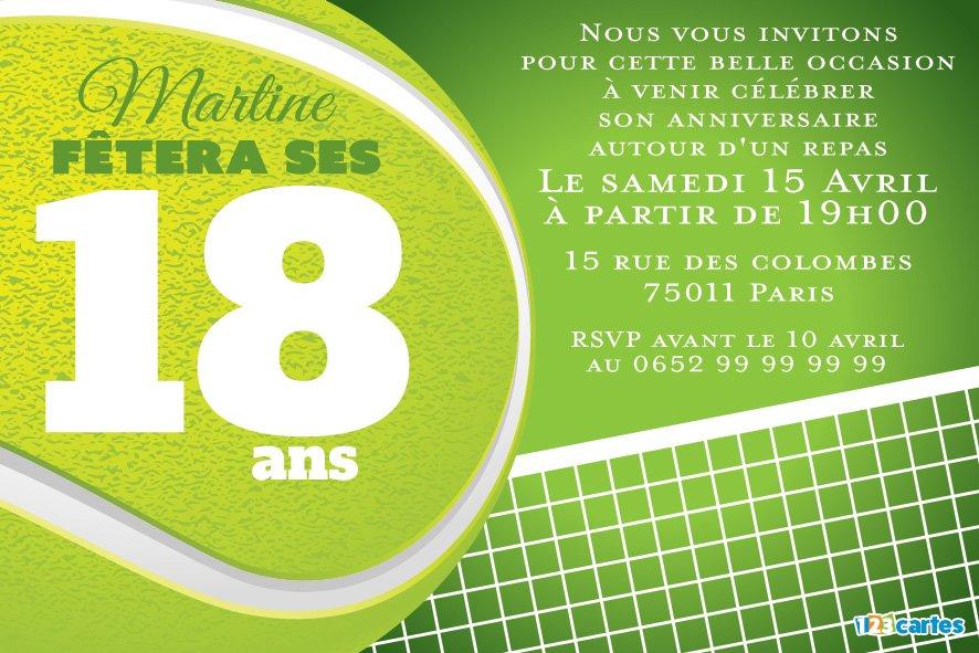 Carte invitation anniversaire tennis à imprimer